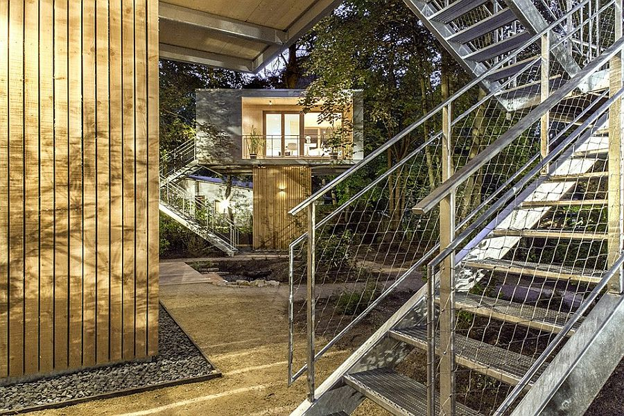 Steel staicase leading to the contemporary treehouse