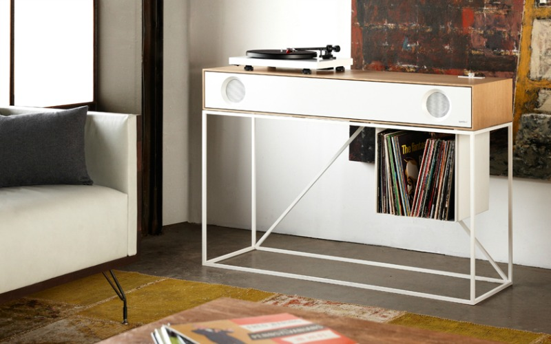 Available in both black and white, this unit holds fewer LPs but gives you plenty of space to use in other ways