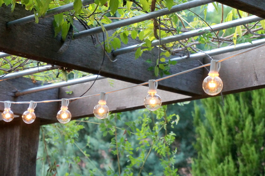 view in gallery string lights hang from an overhead trellis lighting
