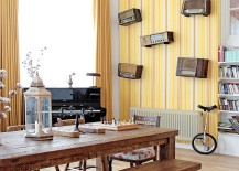 Striped yellow wallpaper in the modern dining room 217x155 9 Ways to Decorate the Dining Room with Eye Catching Wallpaper