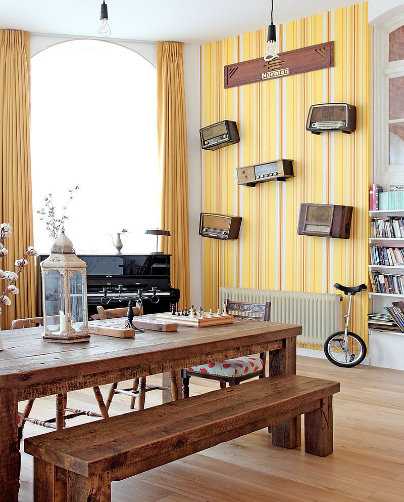 View in gallery striped yellow wallpaper in the modern dining room design avocado sweets interior design studio