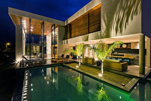 Stunning Brazilian Courtyard and Pool Lit Up at Night