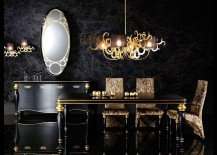 Stunning dining room in black with hints of gold