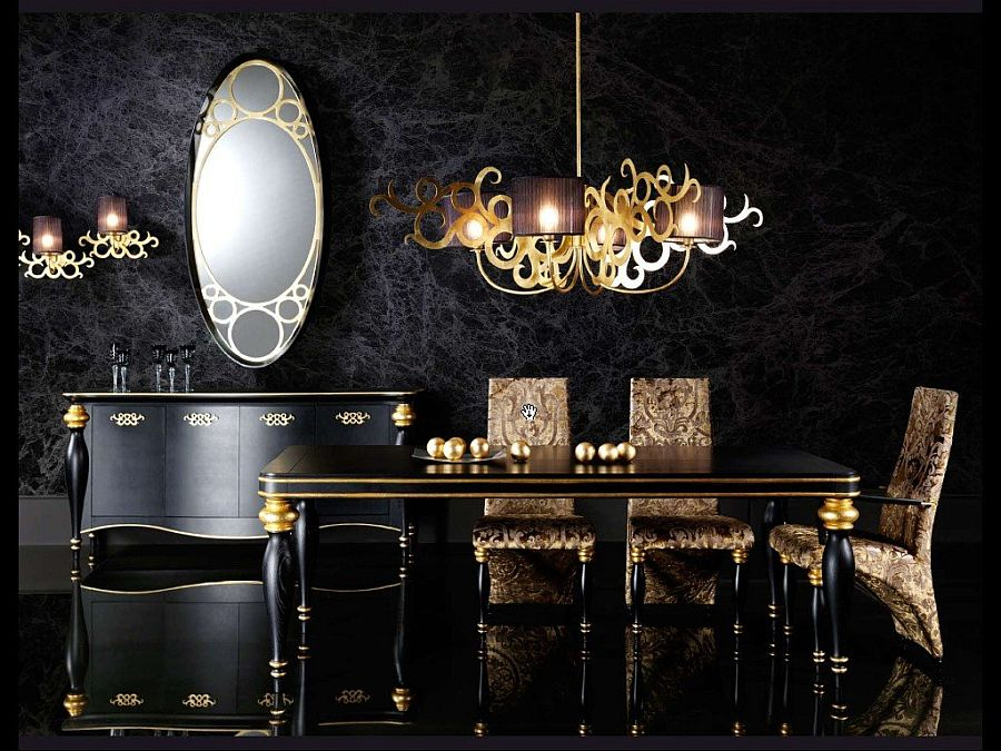 15 refined decorating ideas in glittering black and gold for Black dining room walls