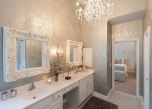 Stunning use of silve in the gorgeous bathroom