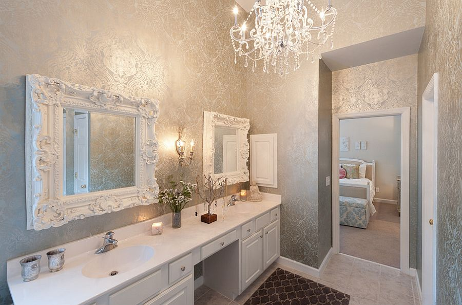 Stunning use of silver in the gorgeous bathroom [Design: Heather ODonovan Interior Design]