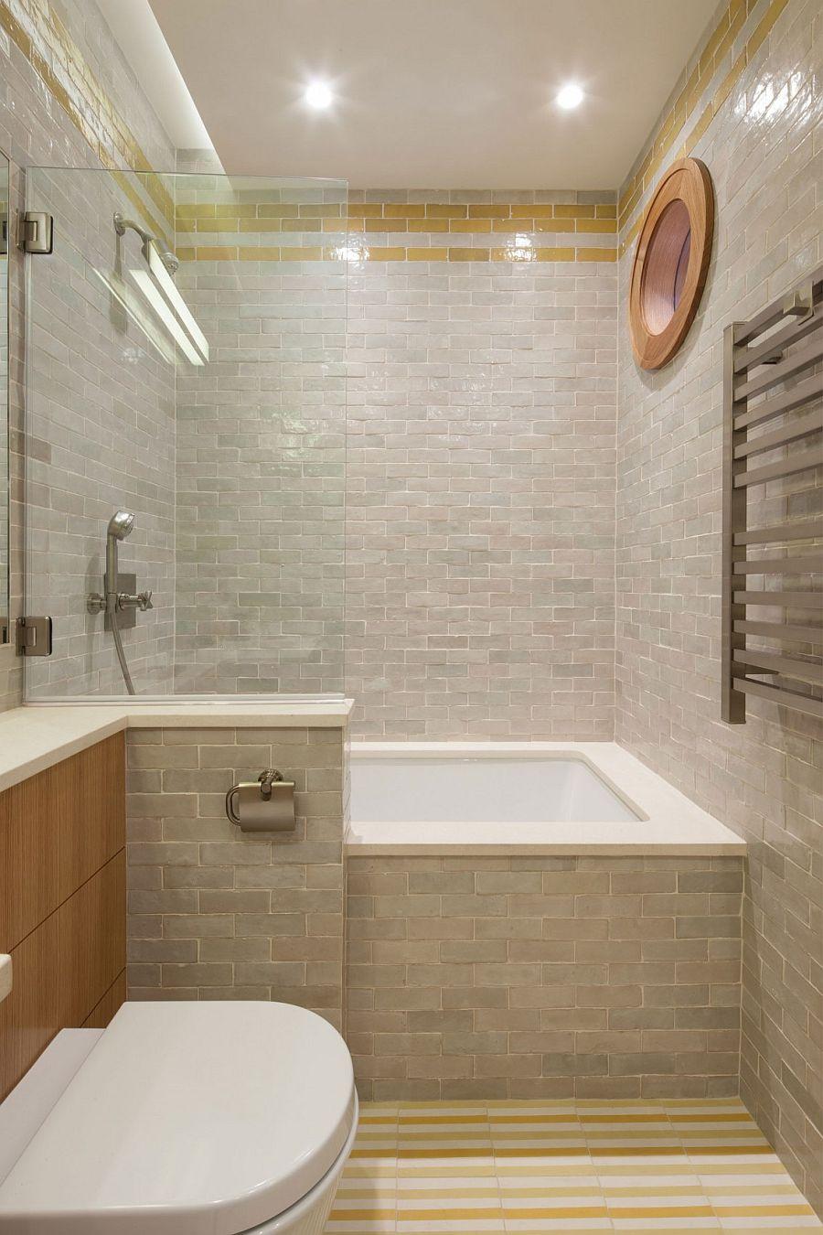 Stylish bathroom has a more traditional vibe