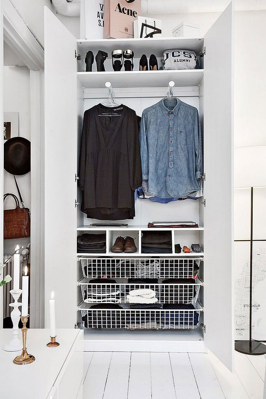 Stylish modern closet idea in white