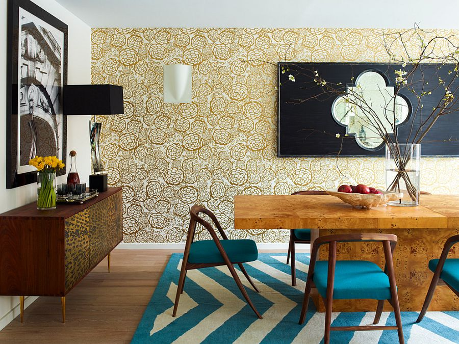 Stylish wallpaper brings golden elegance to the contemporary dining room [Design: Incorporated]