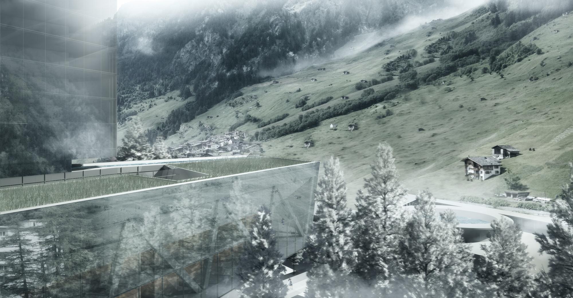 Swiss Alps - Vals tallest building Europe