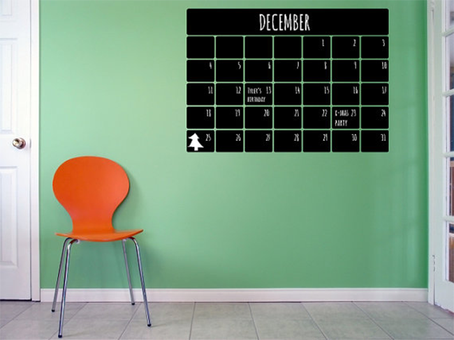Temporary Chalkboard Calendar Decal
