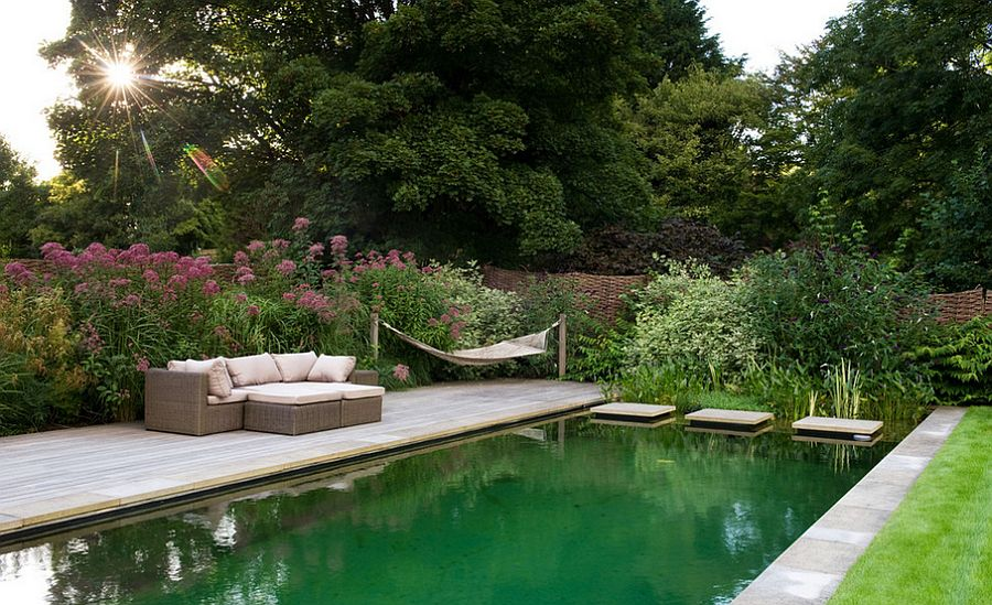 Time to give your pool deck a cozy hammock corner [Design: Amanda Patton Garden Design & Planting]