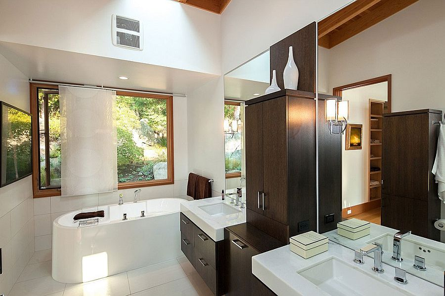 Traditional bathroom design with wooden cabinets and simple vanity