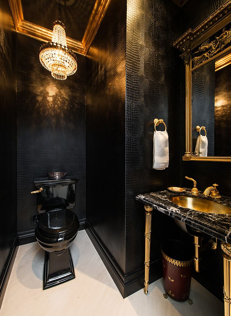 15 refined decorating ideas in glittering black and gold for Dark bathroom wallpaper