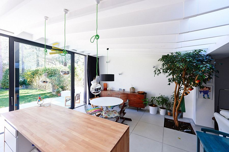Unique ceiling design gives the unique extension an airy appeal