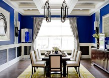 Unique cheerful blue dining room