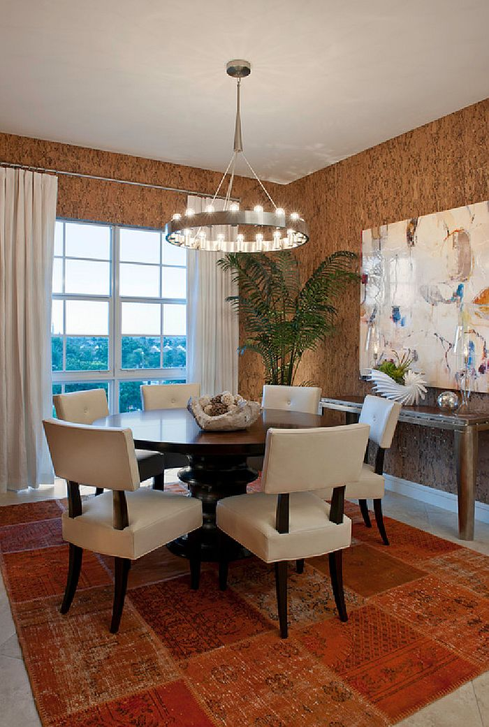 ... Unique Wallpaper Brings The Texture Of Cork To The Dining Room [Design:  Garrison Hullinger