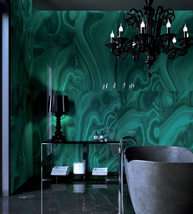 Unleash high-end brilliance in the luxurious modern bath with Malachite [Design: Fiandre Architectural Surfaces]