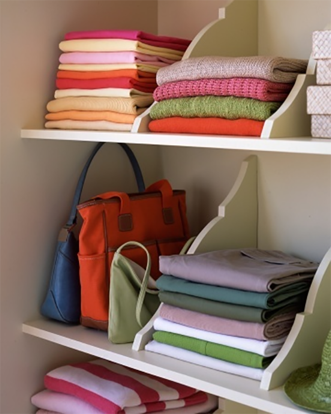 Upside Down Shelf Brackets as Sweater Organizer