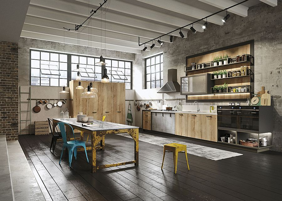 Urbane Loft kitchen from Snaidero mixes contemporary and industrial styles Loft: Refined Kitchen Brings Industrial Richness to Urban Interiors