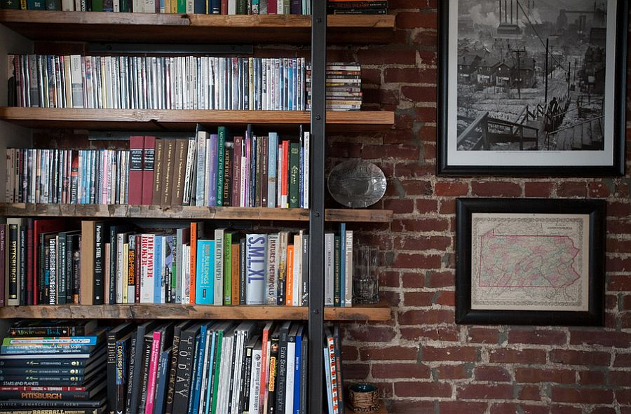 Use reclaimed wood to shape sleek shelves in the home office [From: Jason Snyder Photography]