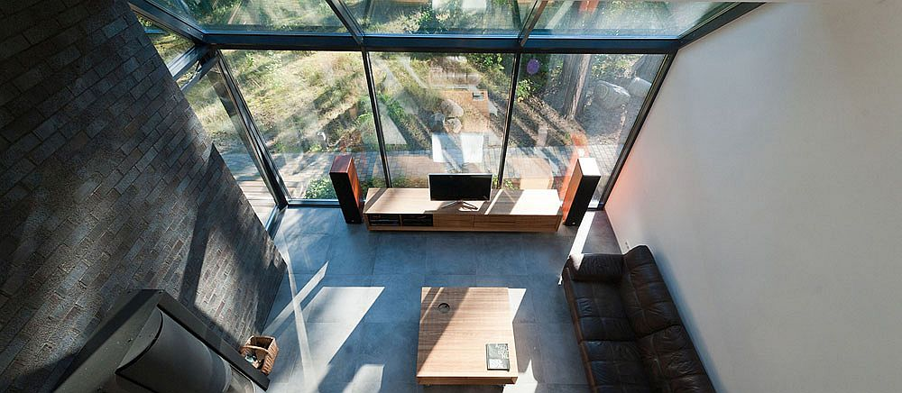 View of the living area from the mezzanine level
