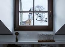 View outside the lovely framed windows of the Vilnius attic apartment