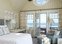 View outside the window adds to the style of the bedroom