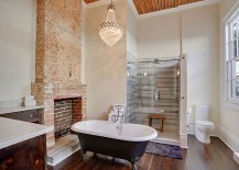 Vintage French chandelier adds glam to the transitional bathroom