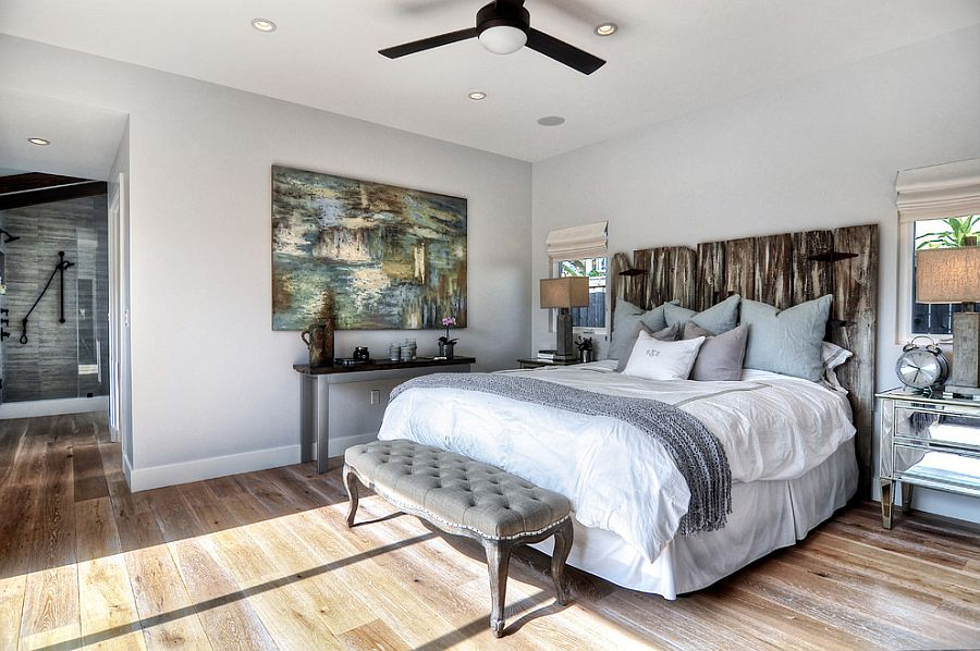 Vintage headboard adds elegance to the beach style bedroom [Design: SC Homes]