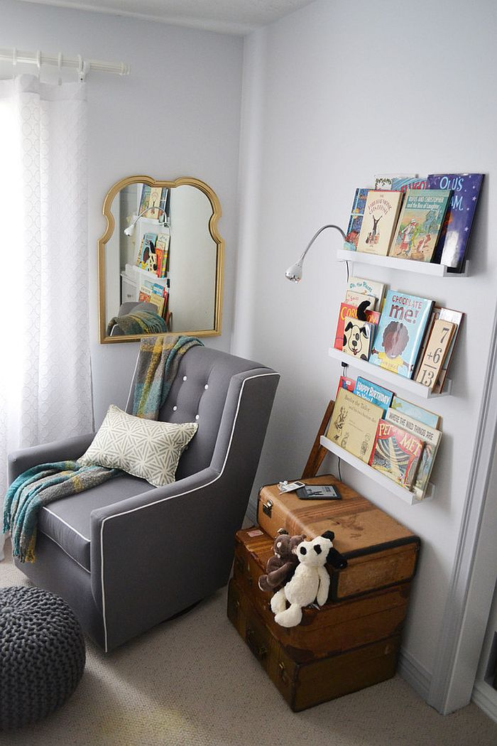 View in gallery Vintage suitcases add a unique touch to the reading corner [Design: YouthfulNest] : reading-corner-ideas - designwebi.com
