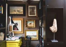 Wall art steals the show in the small, dark home office