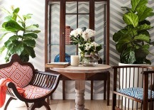Wallpaper brings chevron style to the small, shabby chic dining space
