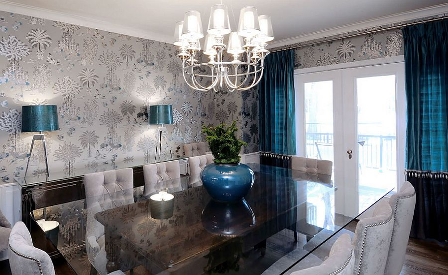Wallpaper shapes the perfect backdrop for the brilliant blue accents 9 Ways to Decorate the Dining Room with Eye Catching Wallpaper