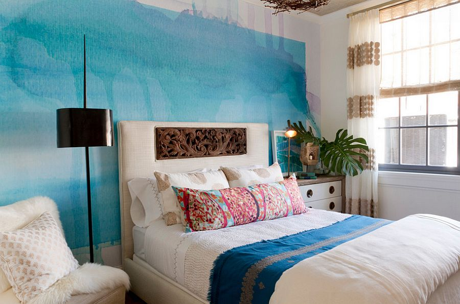 Watercolor-inspired feature wall in the relaxed bedroom [Design: Jen Going Interiors / Rikki Snyder Photography]