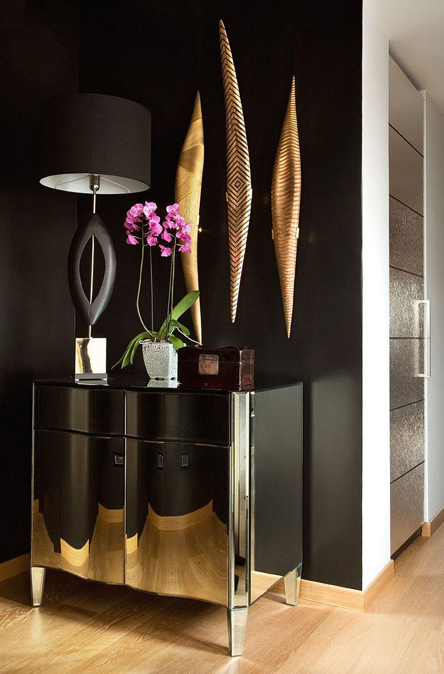 Wonderful use of black and gold inside the eclectic Venice home