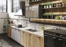 Wood, glass and metal shape the lovely Loft kitchen