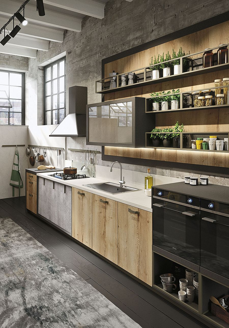 Refined kitchen brings industrial richness to urban interiors for Industrial flooring for homes
