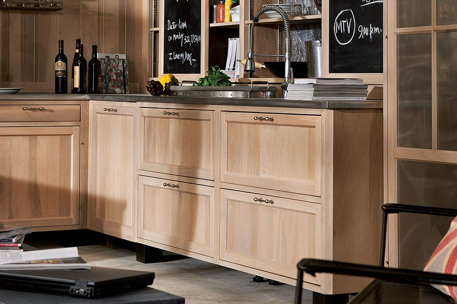 Wooden cabinets in the kitchen give it warm, inviting ambiance
