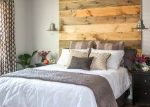 Wooden headboard adds warmth to the contemporary bedroom