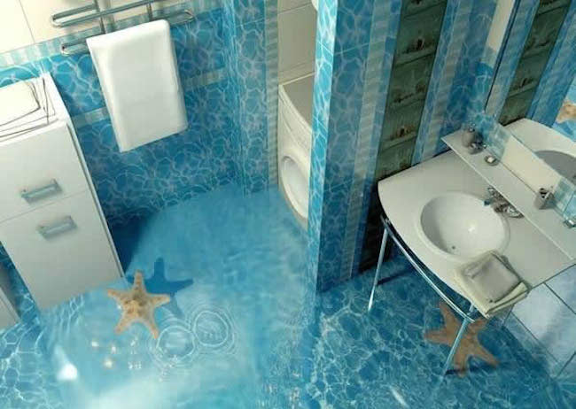 Turn any room into a stunning work of art with 3d epoxy for Bathroom 3d floor designs