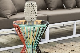Woven side table from CB2