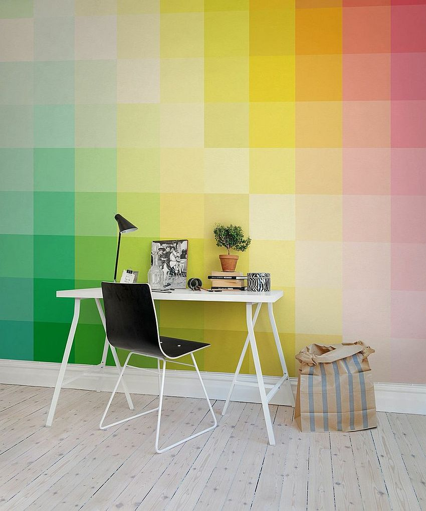 A Colorful Backdrop For Your Cool Home Office From Rebel Walls
