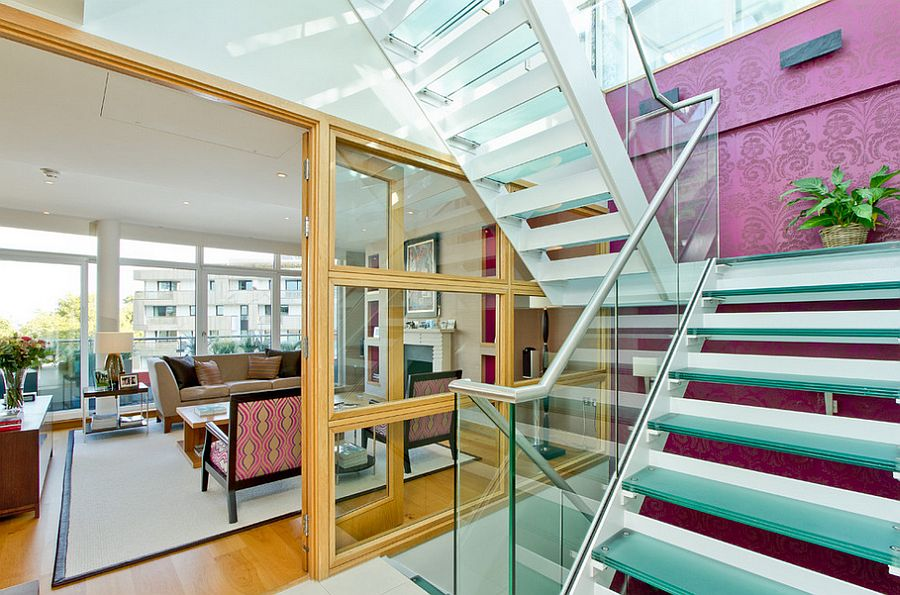 A splash of purple for the contemporary staircase [Photography: Chris Snook]