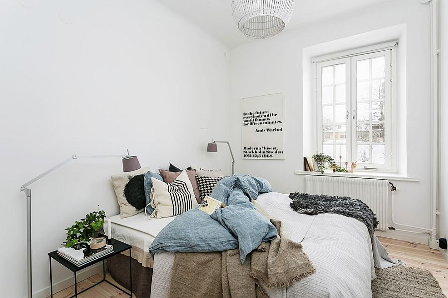 A touch of design inspiration on the bedroom walls Design Britse Company 36 Relaxing and Chic Scandinavian Bedroom Designs