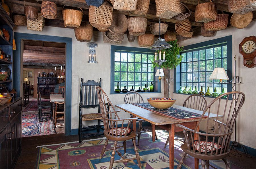 A world of baskets in the dining room! [Design: Lake Winnipesaukee Real Estate]