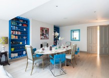 Add a shade of blue of your choice to enliven the soothing Scandinavian dining room