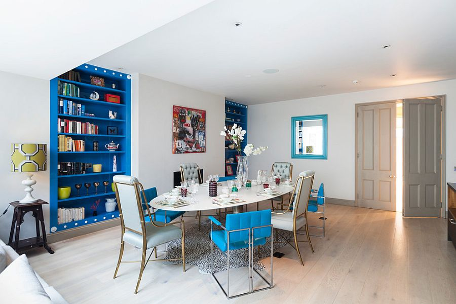 Add a shade of blue of your choice to enliven the soothing Scandinavian dining room [Design: Domus Nova]