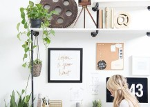 Add some greenery to your home office 217x155 50 Splendid Scandinavian Home Office and Workspace Designs
