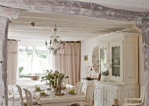 All white dining room delivers a tranquil French Country look